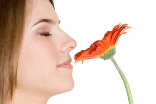 Девушка нюхает цветок